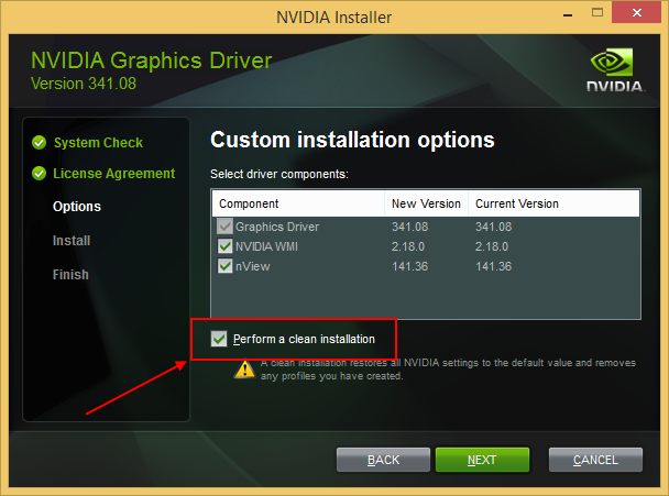 NVIDIA driver clean installation option