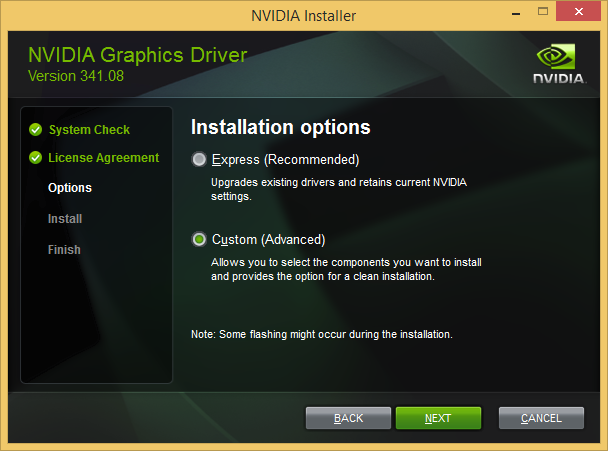 NVIDIA driver installation choices