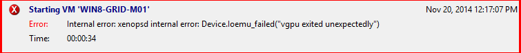 vGPU error starting the virtual machine