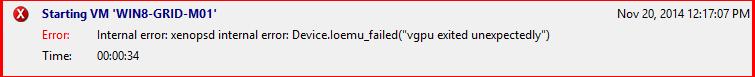 vGPU error starting the virtual machine