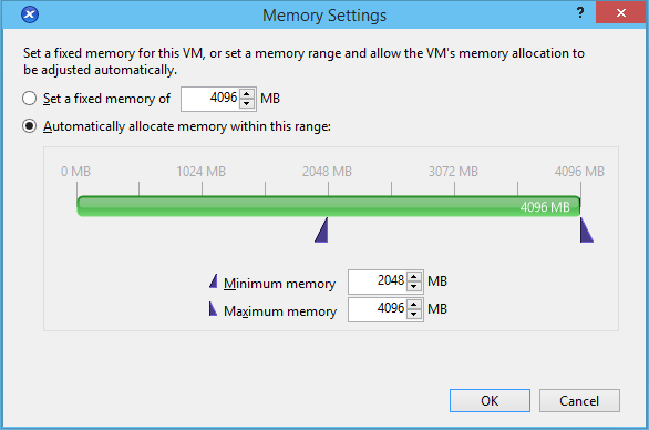 XenCenter Dynamic Memory